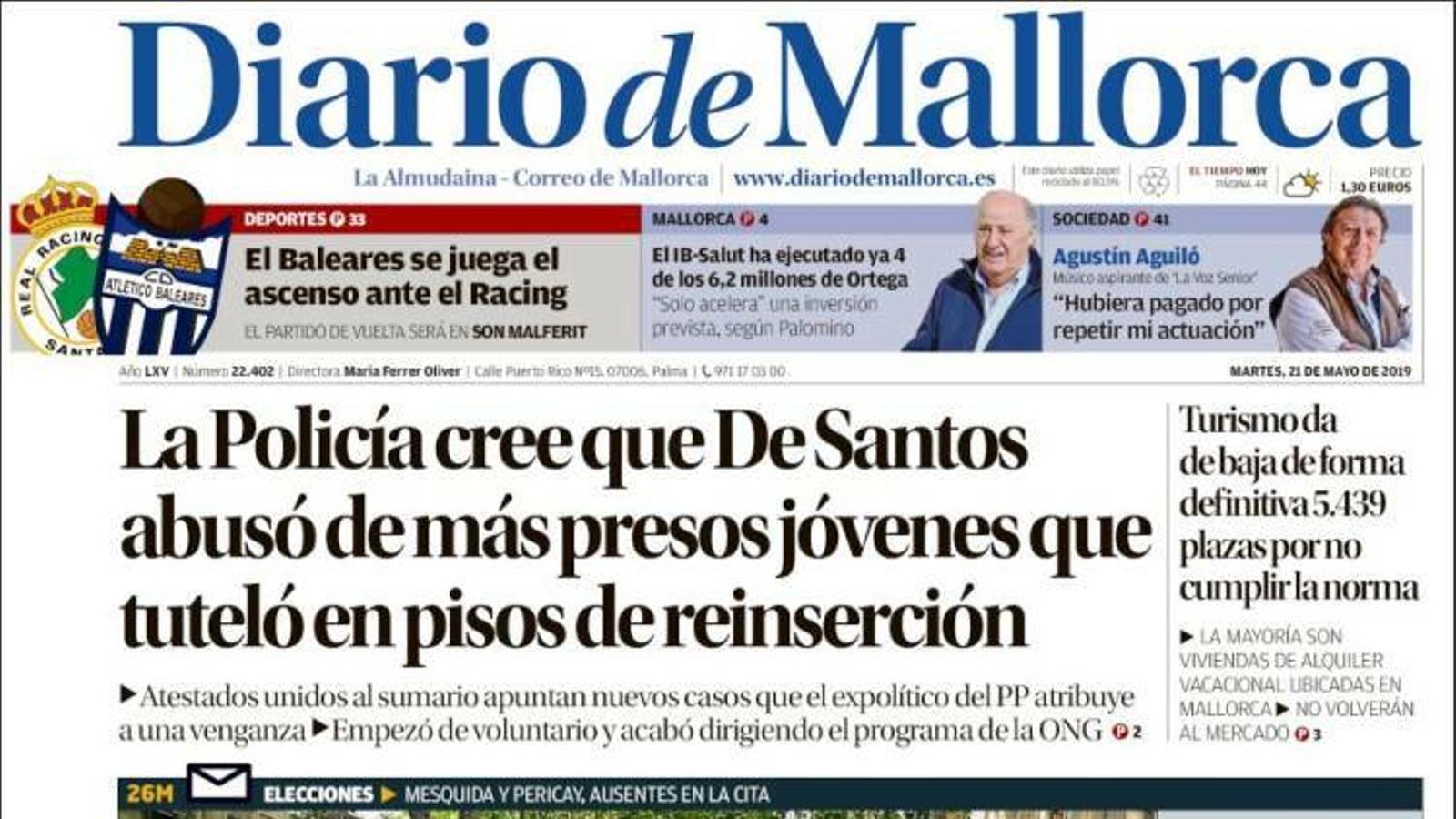 """""""La Policia creu que De Santos va abusar de més presos joves que va tutelar a pisos de reinserció"""", portada de 'Diario de Mallorca''"""