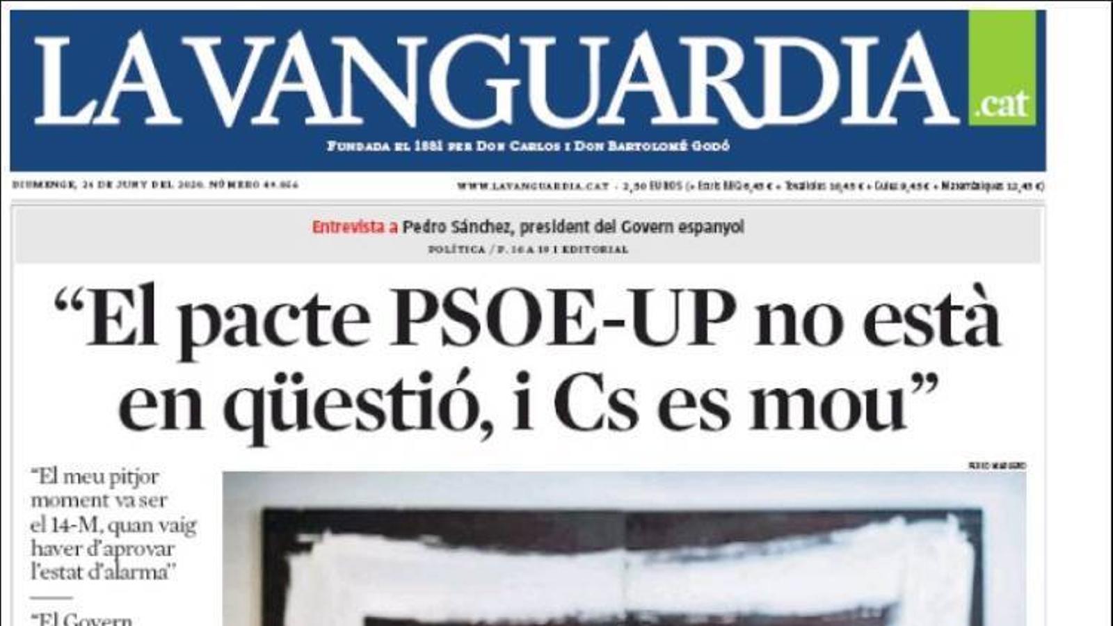 """""""L'adeu robat a la generació que va canviar Espanya"""", portada d''El País'"""