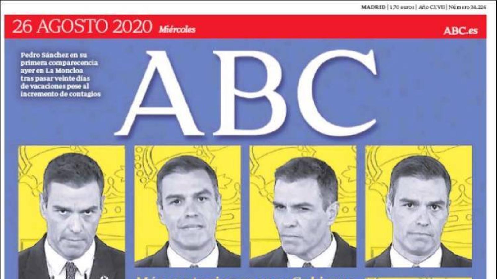 Portada de l'Abc, 26 d'agost del 2020