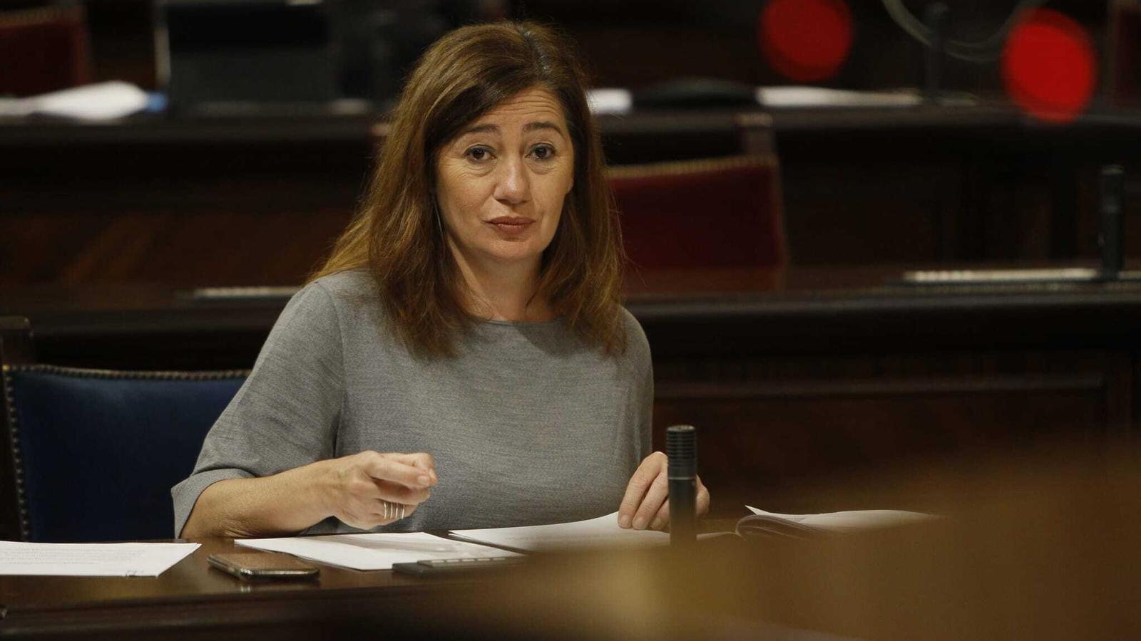 La presidenta del Govern, Francina Armengol, durant la seva compareixença