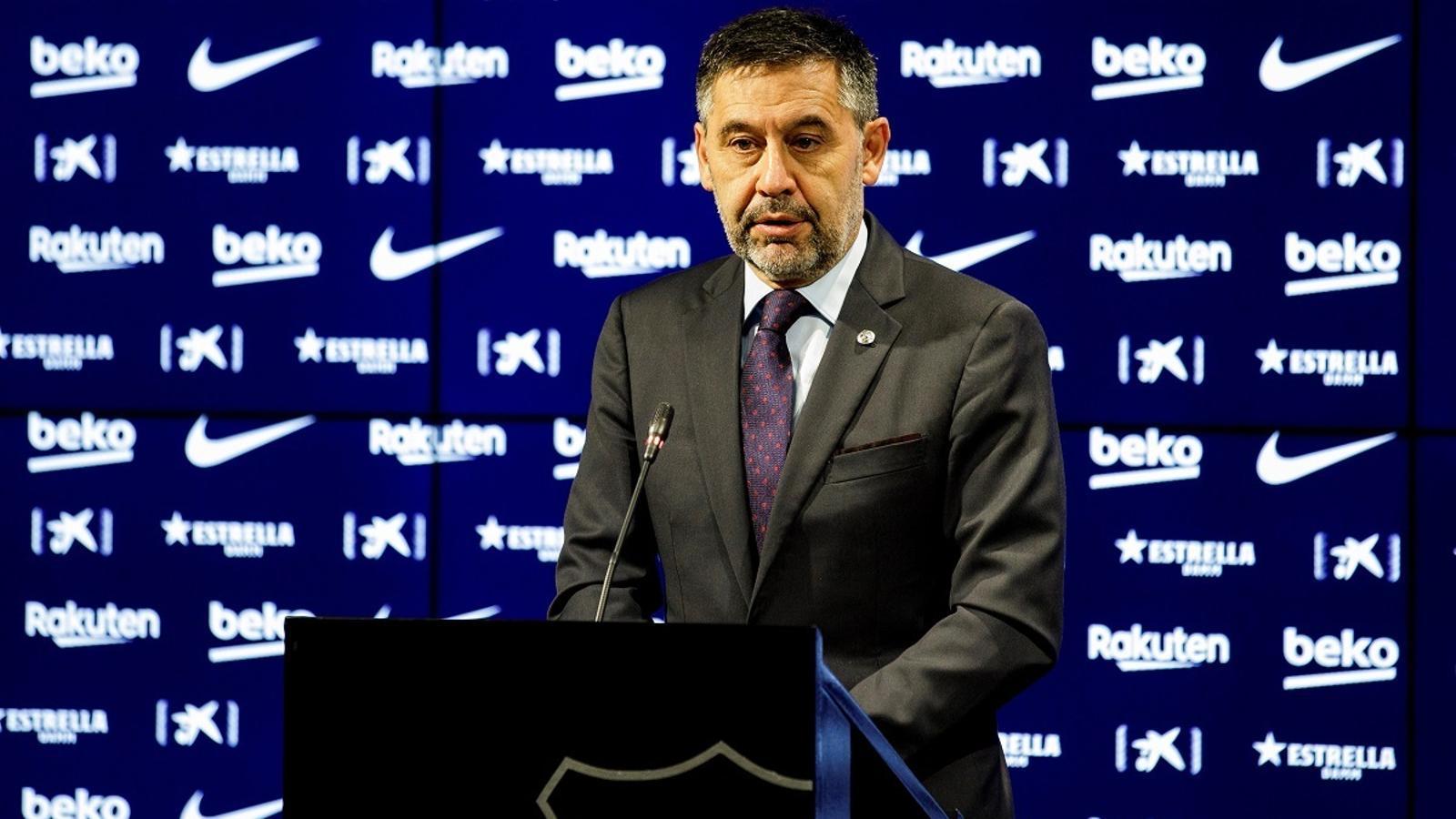 Josep Maria Bartomeu, en la darrera compareixença de premsa com a president del Barça