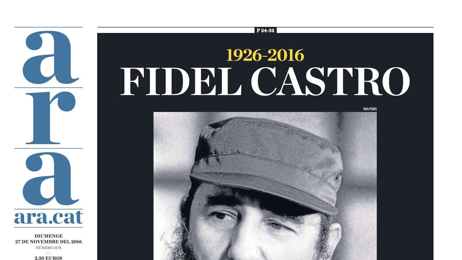 """""""Fidel Castro: la història l'absoldrà?"""", portada de l'ARA"""