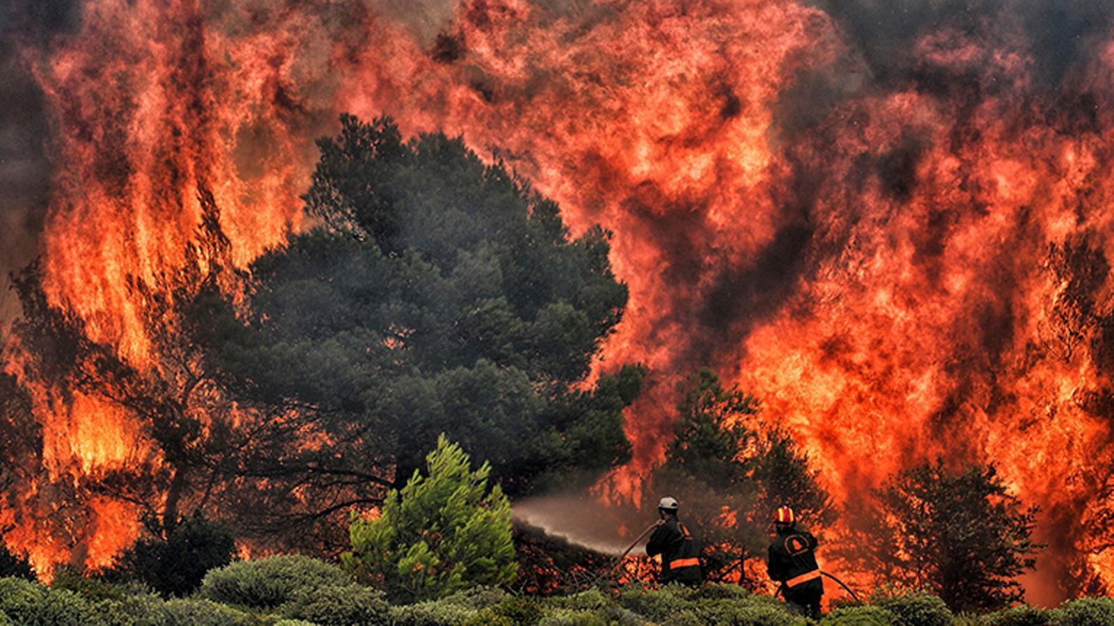 Les altes temperatures i fort vent no ajuden als incendis de Grècia