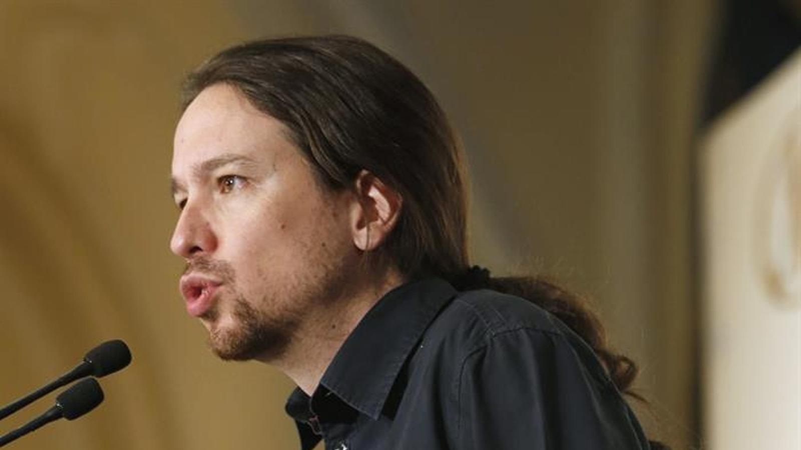 El líder de Podem, Pablo Iglesias, aquest dilluns a Madrid. EFE