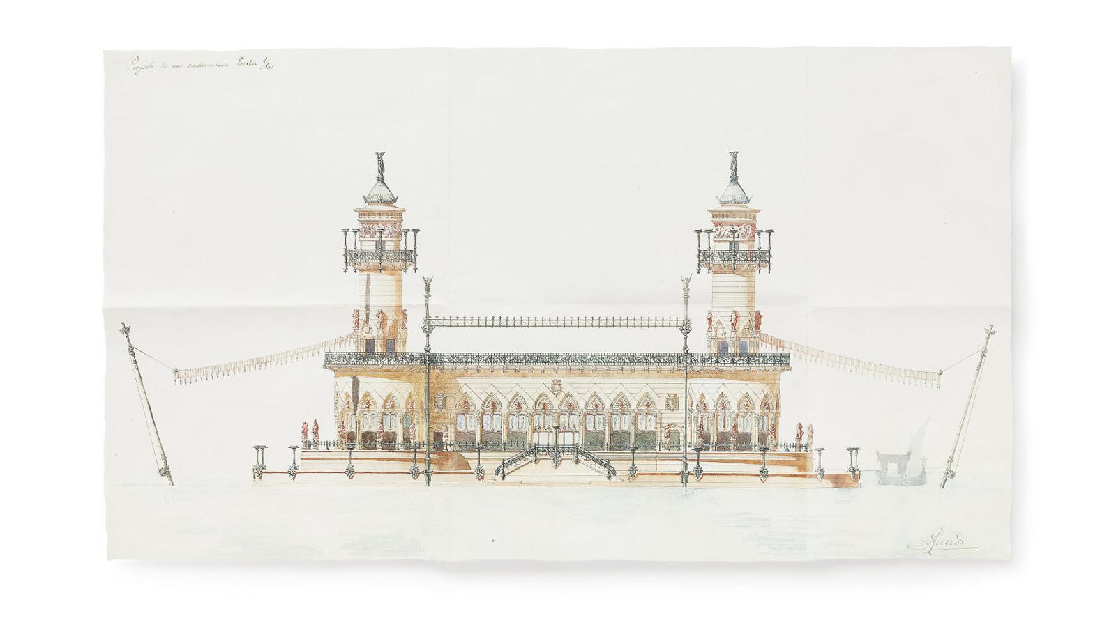 01. L'embarcador que va dibuixar Gaudí quan era estudiant. 02. La carpeta amb els plànols a mida natural del projecte d'Artika. 03. El plànol de la Sagrada Família del 1916 en què Gaudí mostra com hauria d'haver encaixat amb l'entorn urbanístic.