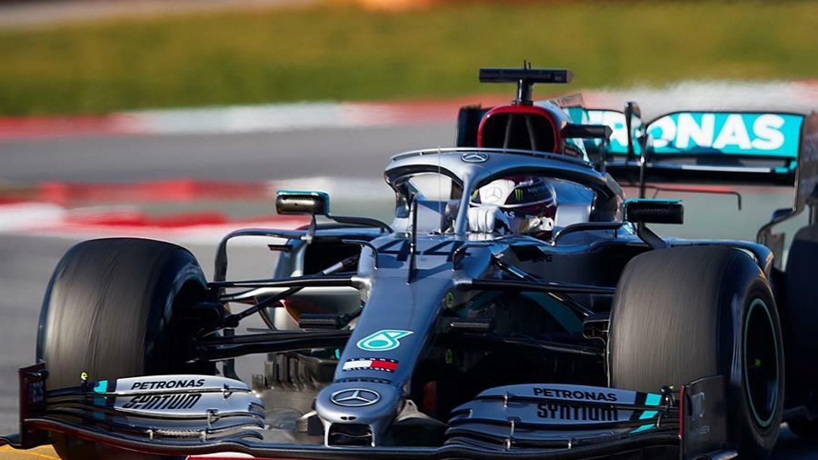 Hamilton, aquest dijous a Montmeló, quan s'ha descobert el nou sistema DAS de Mercedes