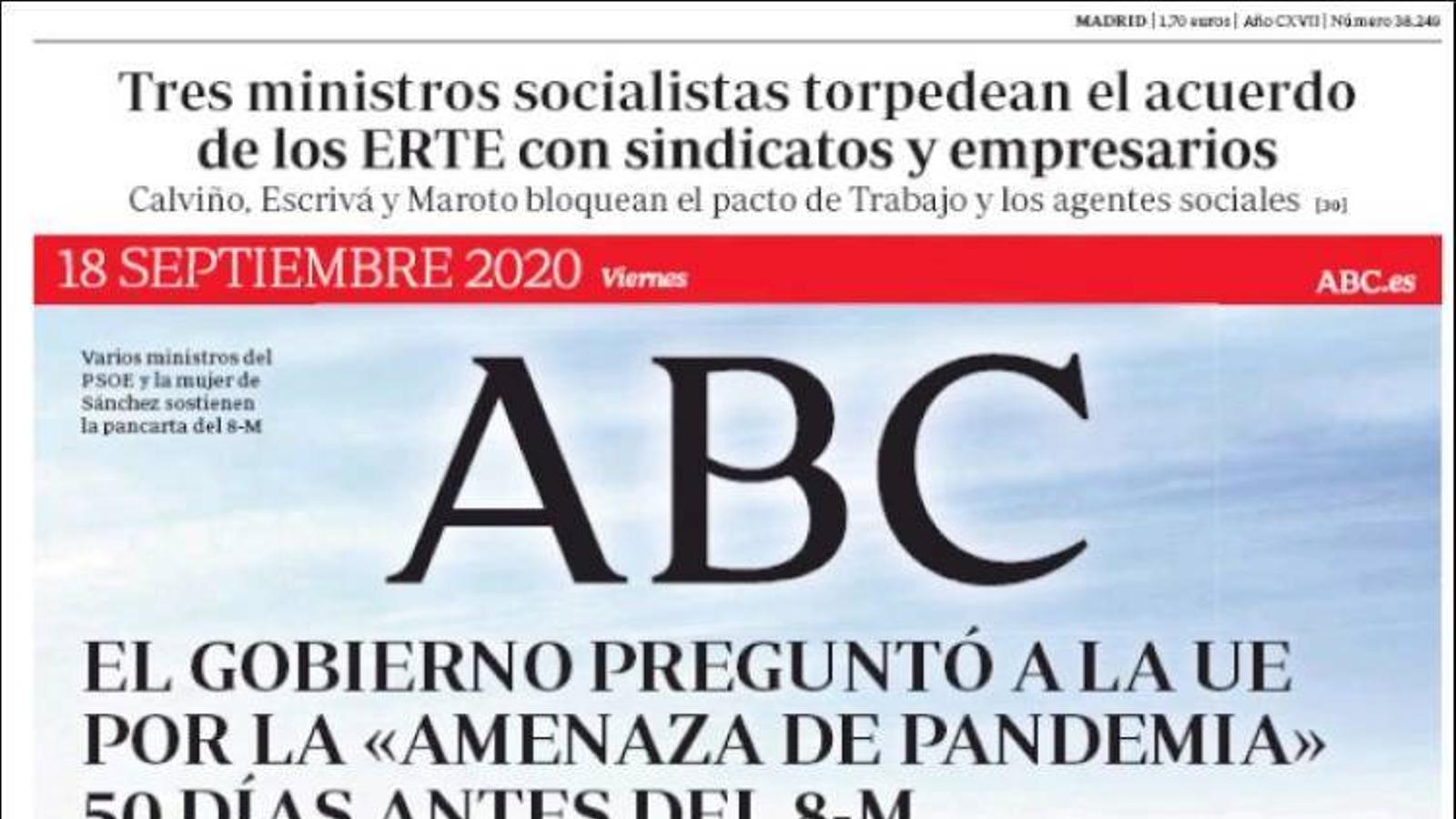 Portada de l'Abc, 18 de setembre del 2020