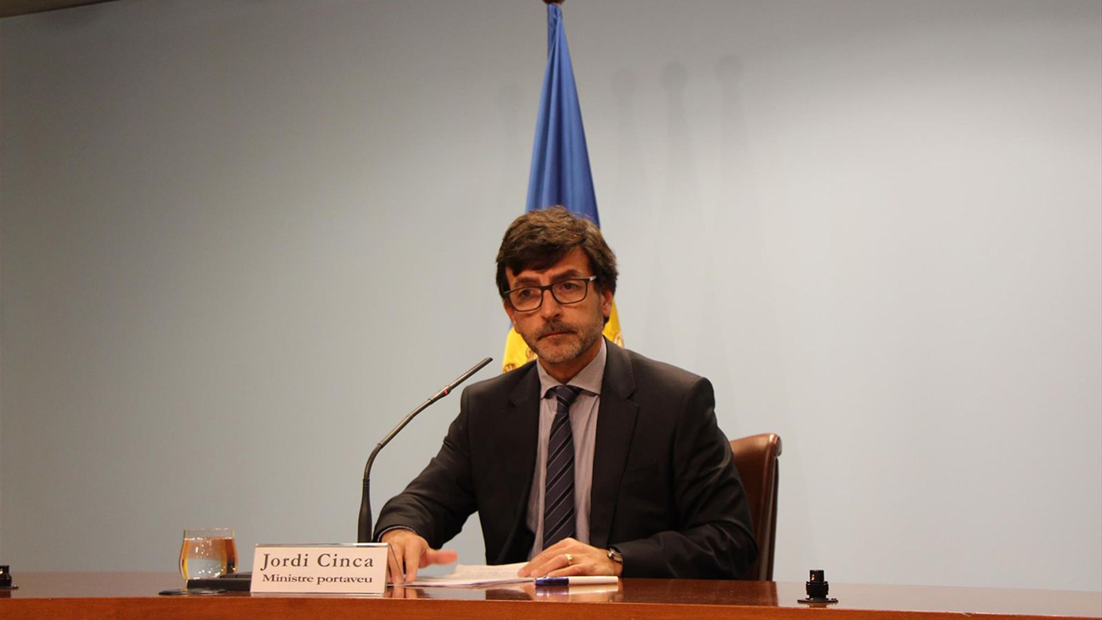 El ministre portaveu, Jordi Cinca, durant la roda de premsa d'aquest dimecres.