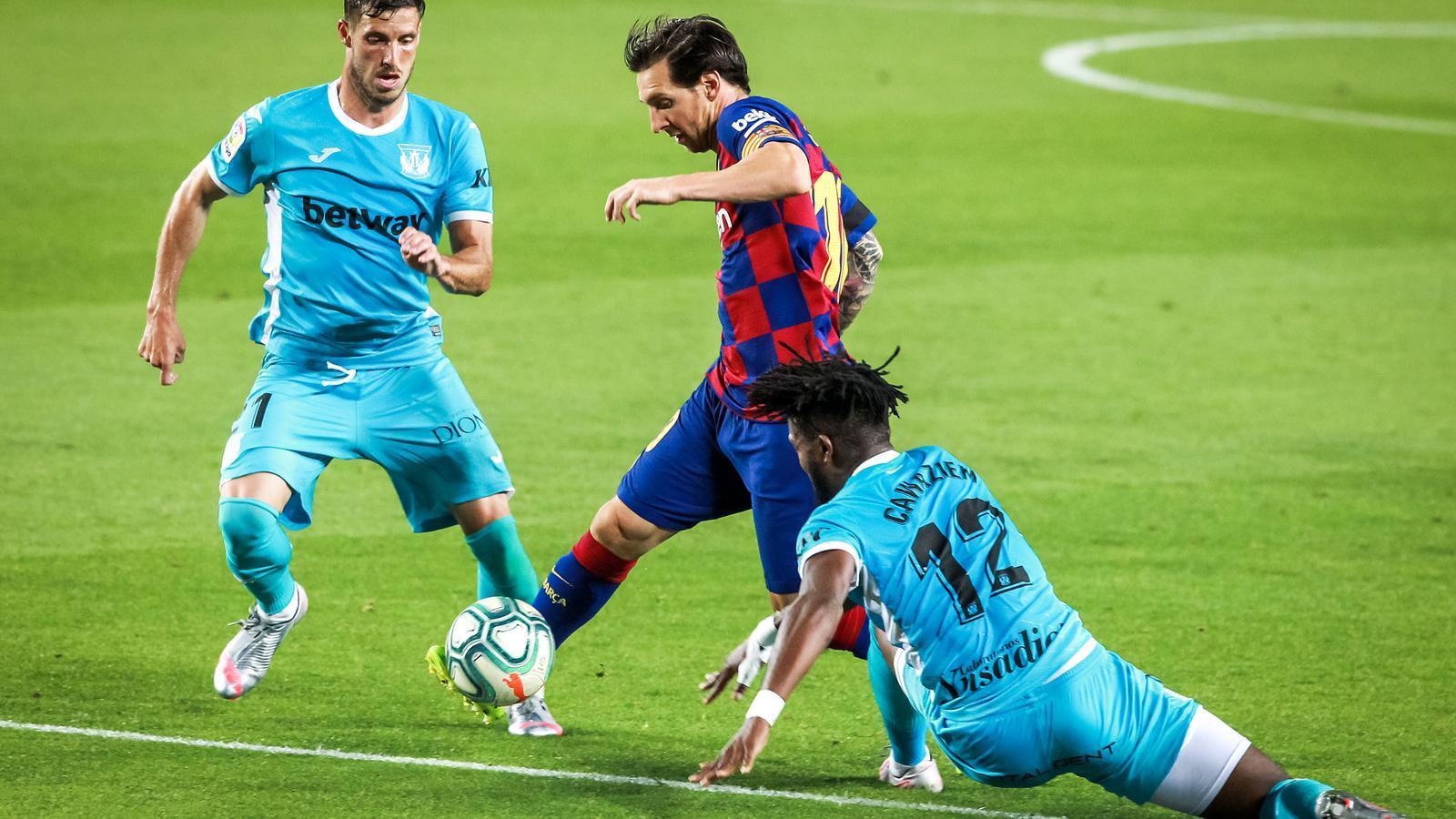 Messi en un partit contra el Leganés
