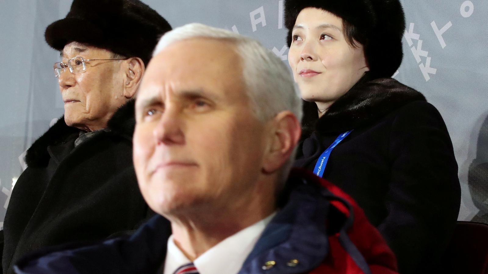 El portaveu nord-americà, Mike Pence, s'havia de reunir amb la germana de Kim Jong-un i el president honorífic del Nord.