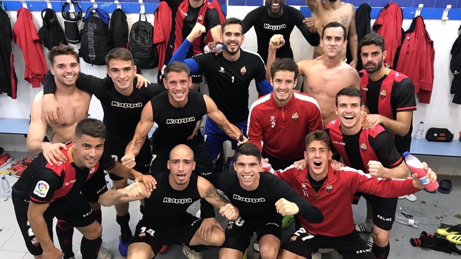 Els jugadors del Reus, celebrant la victòria contra l'Alcorcón
