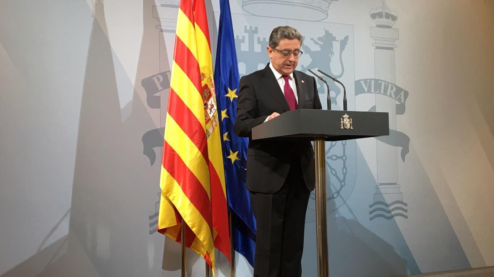 Enric Millo compareix a la seu de la delegació del govern espanyol a Catalunya per explicar els acords que ha pres el Consell de Ministres que fan referència a Catalunya.