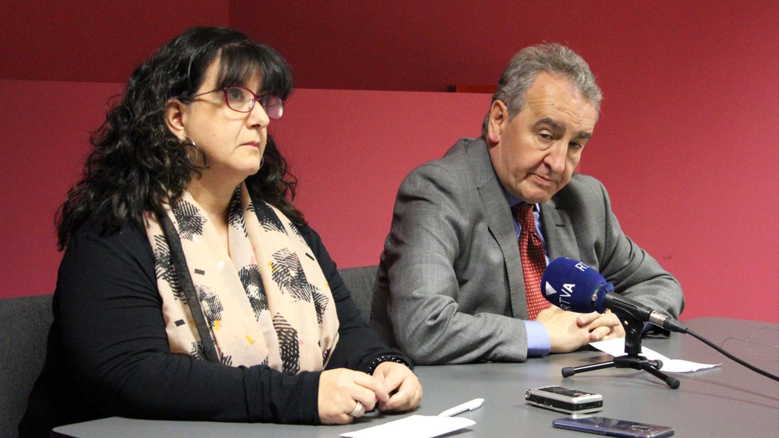 El president de Progressistes-SDP, Jaume Bartumeu, i la candidata a la llista d'En Comú Podem, Meritxell Pujol, durant la roda de premsa. / M. P.