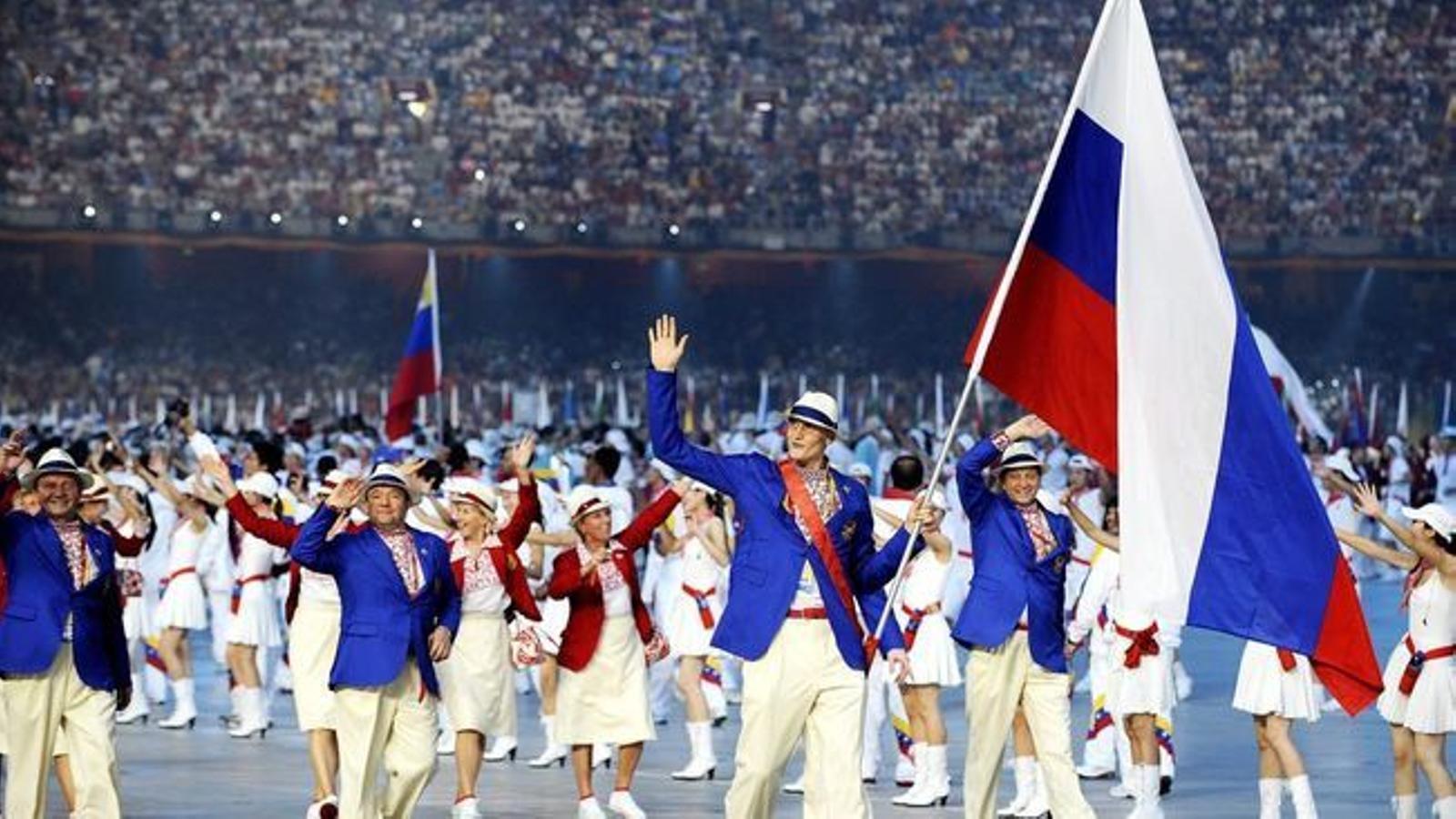 La delegació russa durant la desfilada de la cerimònia d'inauguració dels Jocs Olímpics del 2008