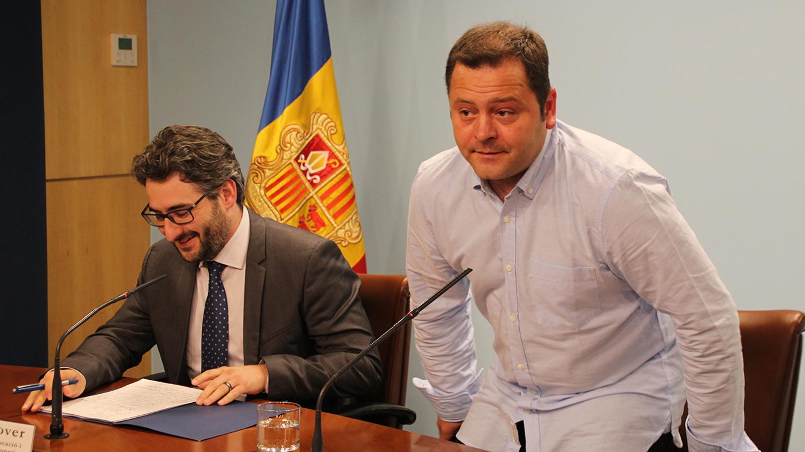 Eric Jover i David Garcia, aquest dijous en roda de premsa. / A. B. (ANA)