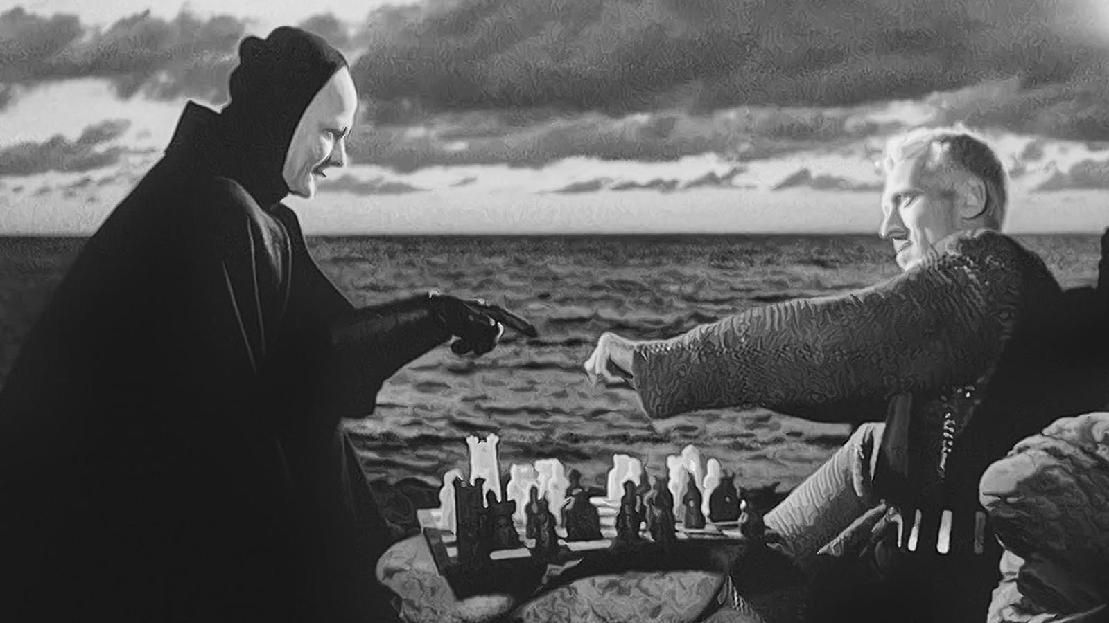 Max von Sydow jugant una partida d'escacs amb la mort al 'Séptimo sello'