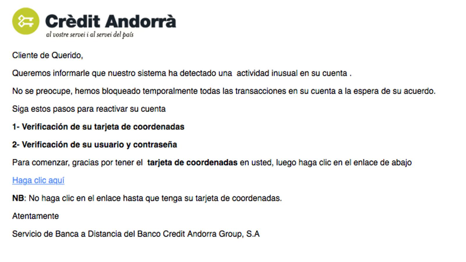Un dels missatges que circulen per intentar captar dades. / ARA Andorra