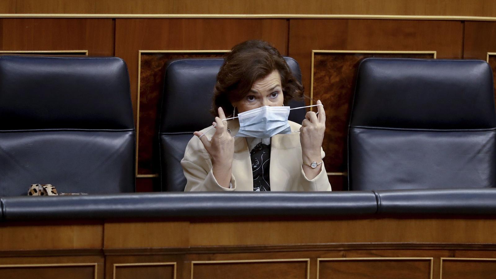 La vicepresidenta del govern espanyol, Carmen Calvo, el 20 de maig a l'hemicicle del Congrés dels Diputats