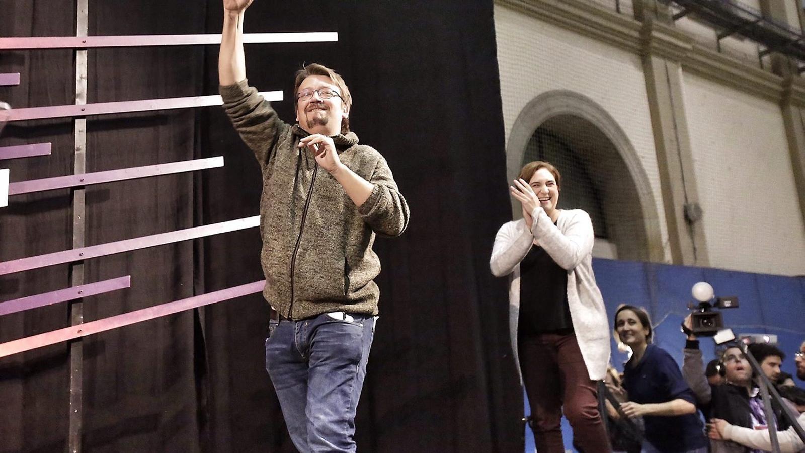 Ada Colau va celebrar amb eufòria el resultat d'En Comú Podem, que va emular l'èxit de les municipals.