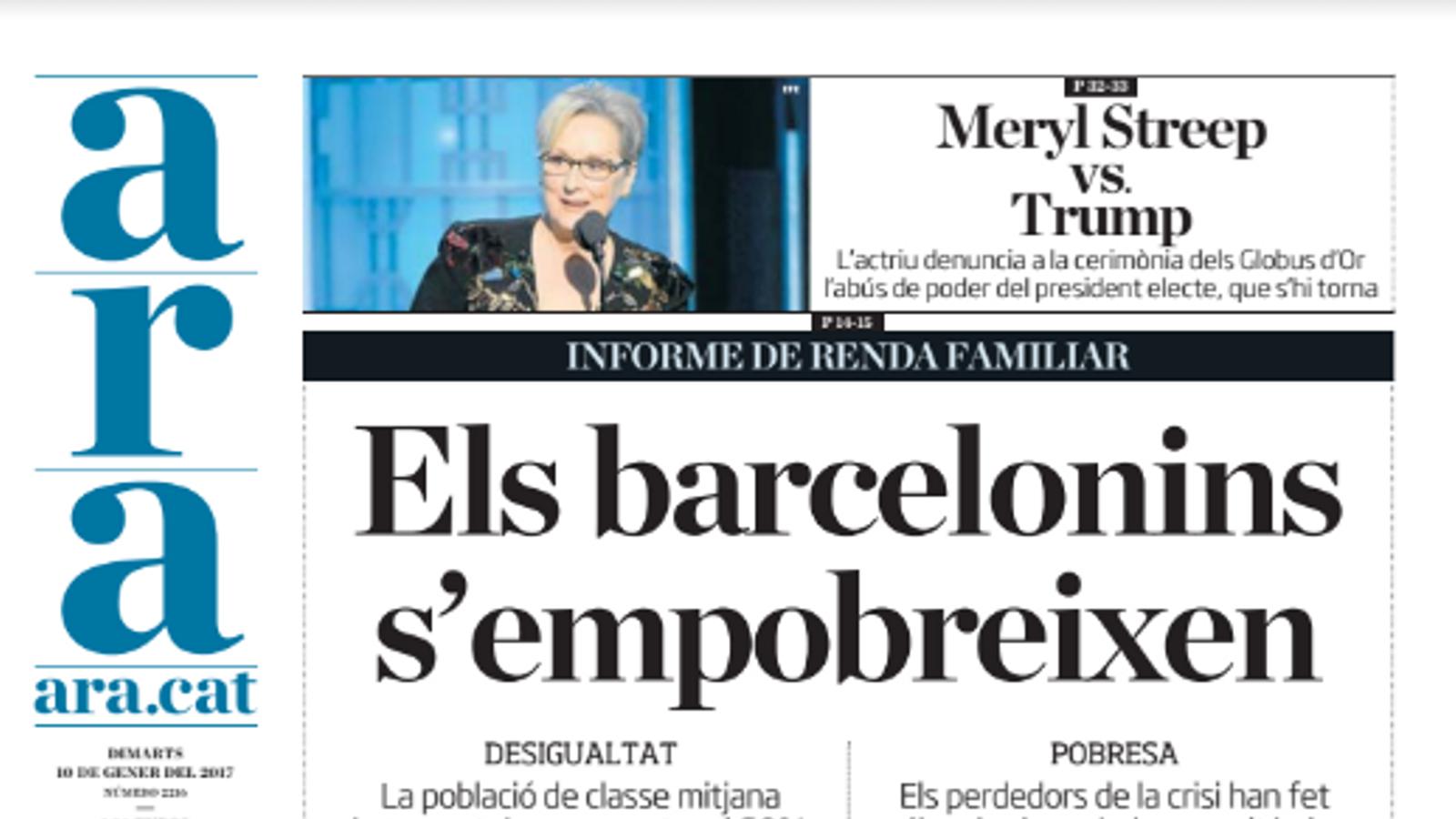 """""""Els barcelonins s'empobreixen"""", portada de l'ARA d'aquest dimarts"""