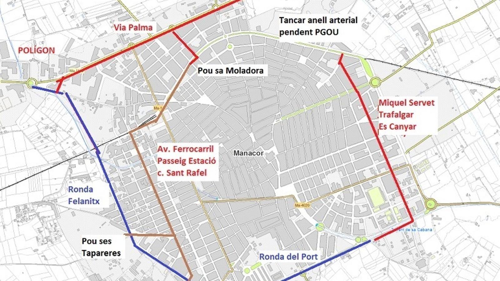 Mapa de distribució de les noves artèries que milloraran el subministrament a la població de Manacor.