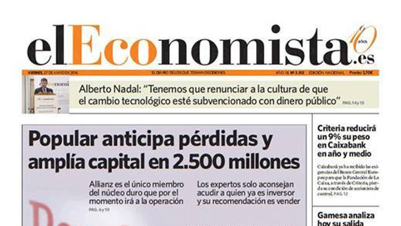 La crisi del Banco Popular, a les portades de la premsa econòmica