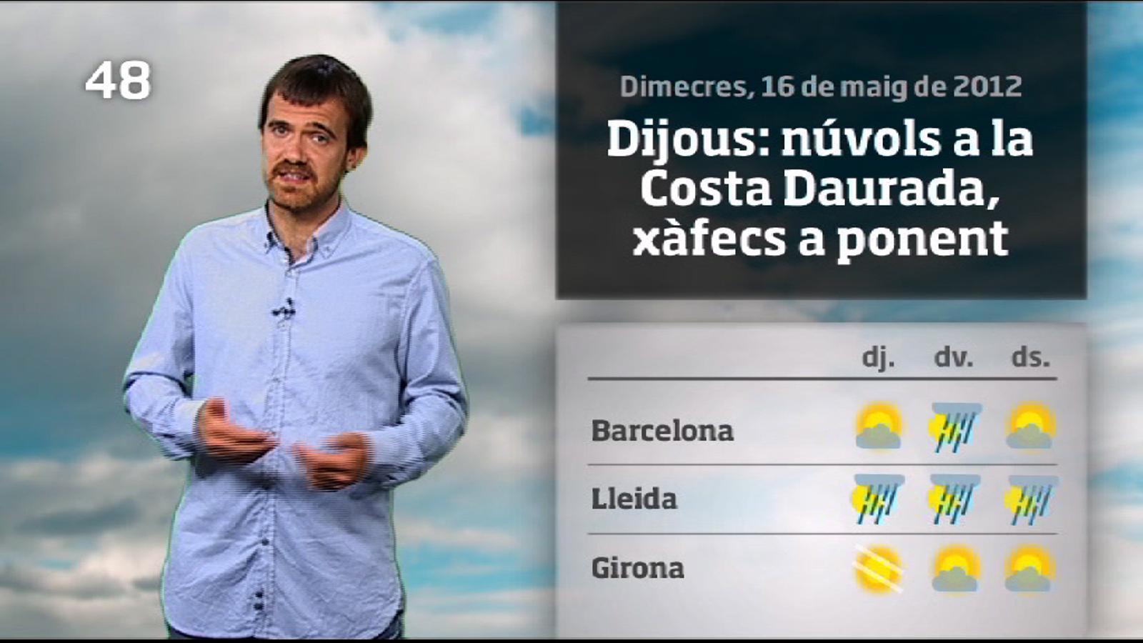 La méteo en 1 minut: dijous més càlid i amb xàfecs a última hora (17/05/2012)
