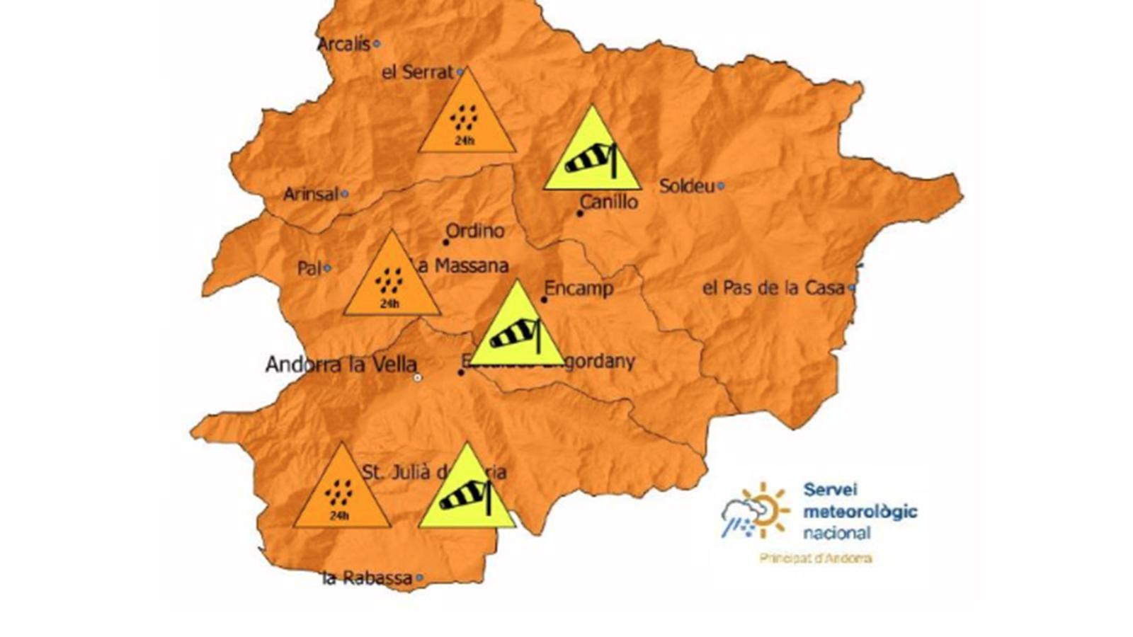 El mapa de les previsions meteorològiques. / SERVEI METEOROLÒGIC