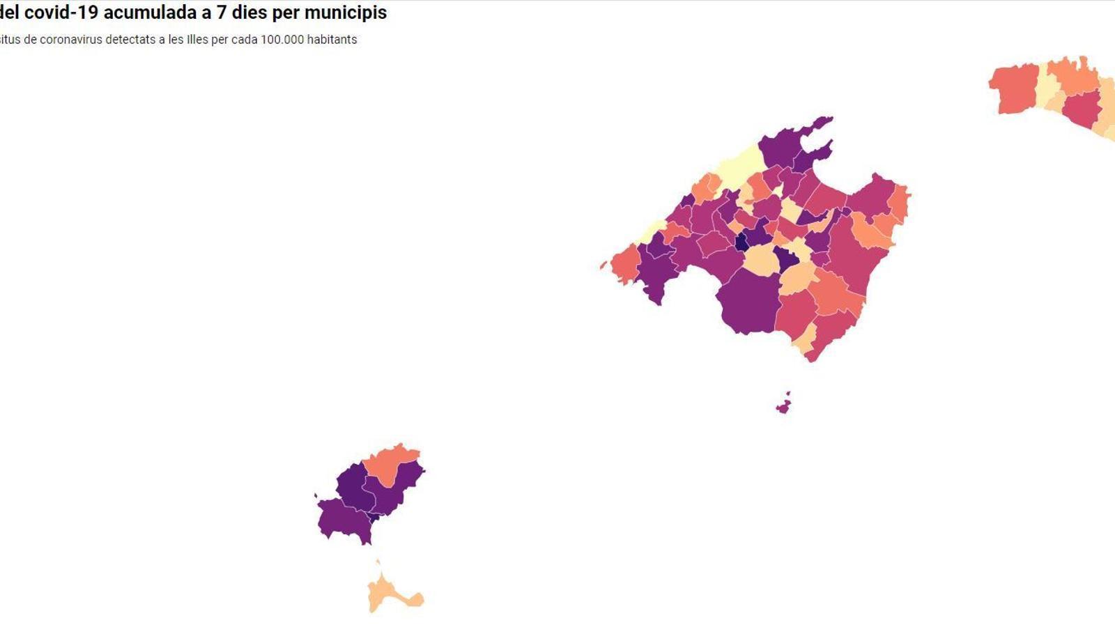 Imatge del mapa interactiu d'incidència del covid-19 a 7 dies per municipis