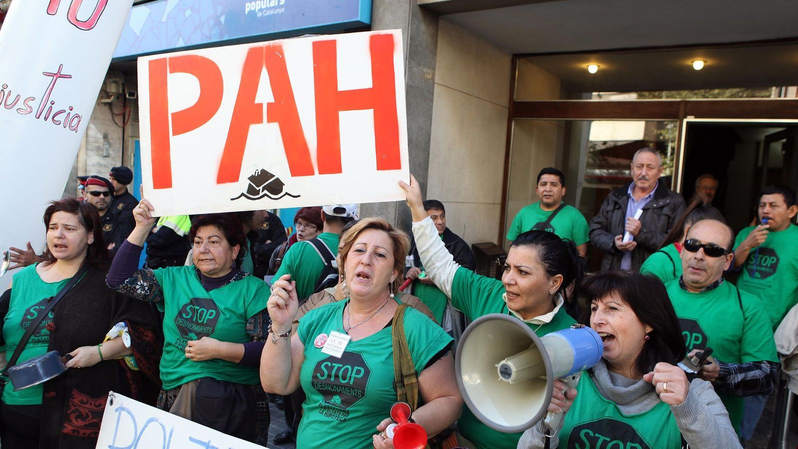 Una protesta de la Plataforma d'Afectats per la Hipoteca, en lluita contra els desnonaments.