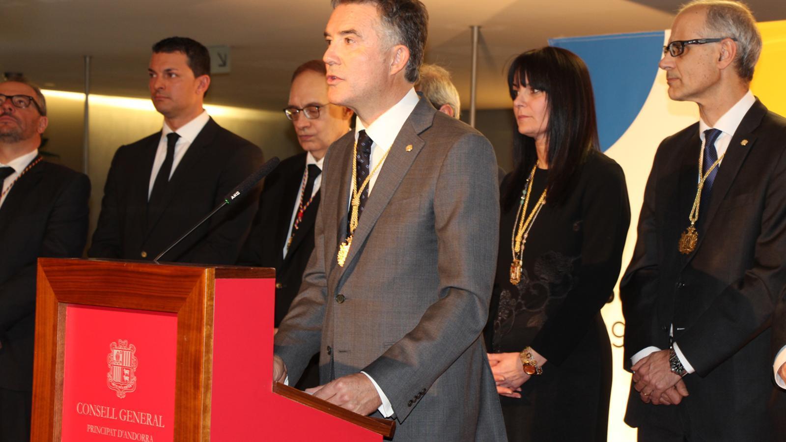 El síndic general, Vicenç Mateu, en un moment del seu discurs. / L. M. (ANA)