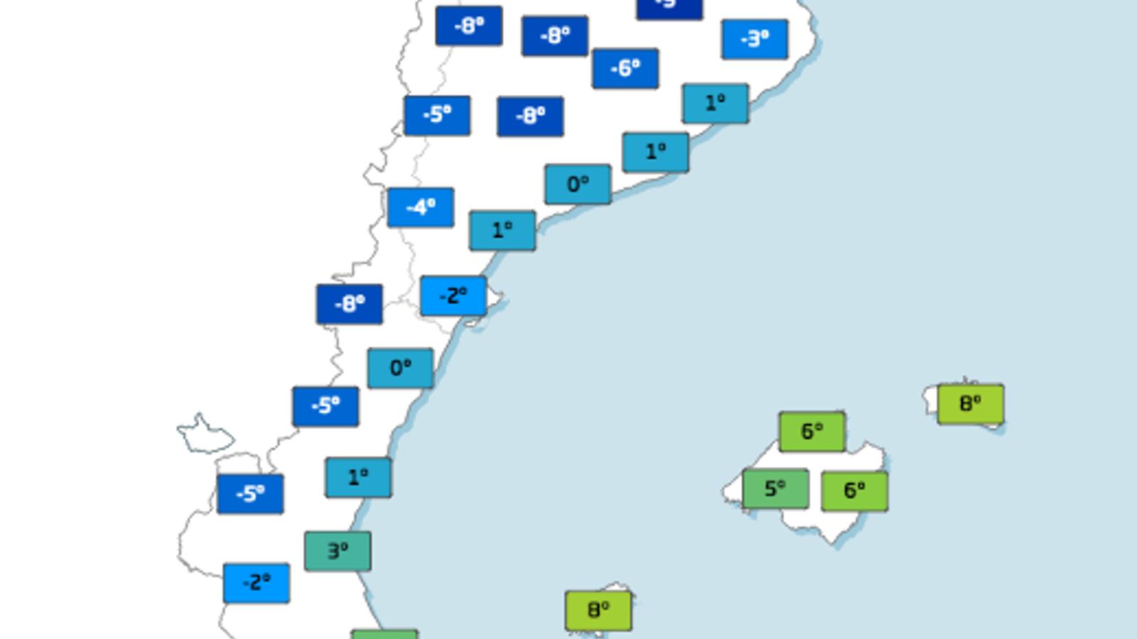 Temperatures mínimes previstes per dimecres a primera hora