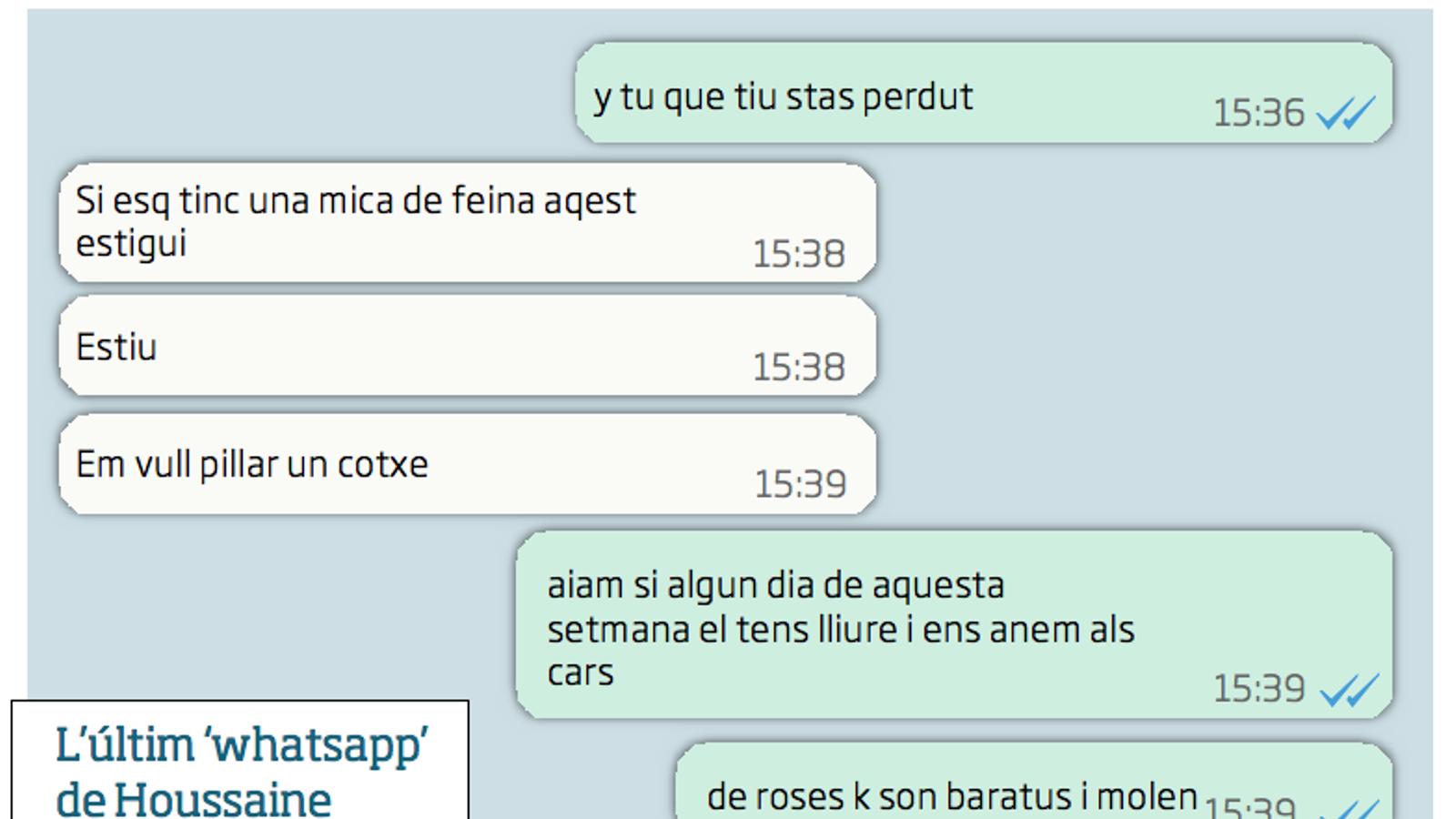 Intercanvi de Whatsapps entre Houssaine Abouyaaqoub i un amic
