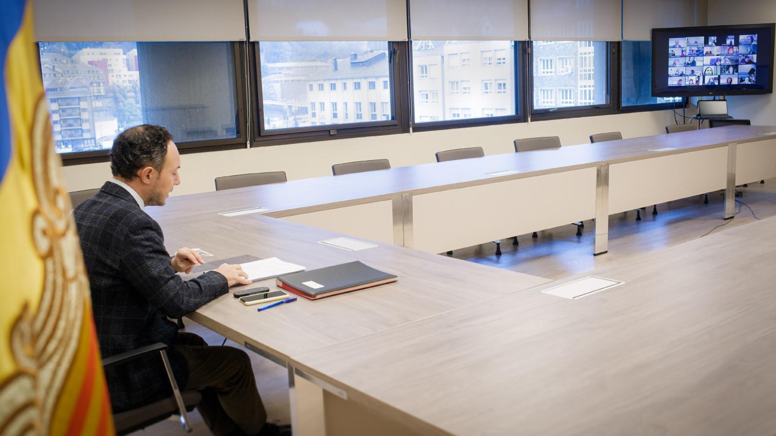 El cap de Govern, Xavier Espot, durant la reunió del Conadis. / SFG