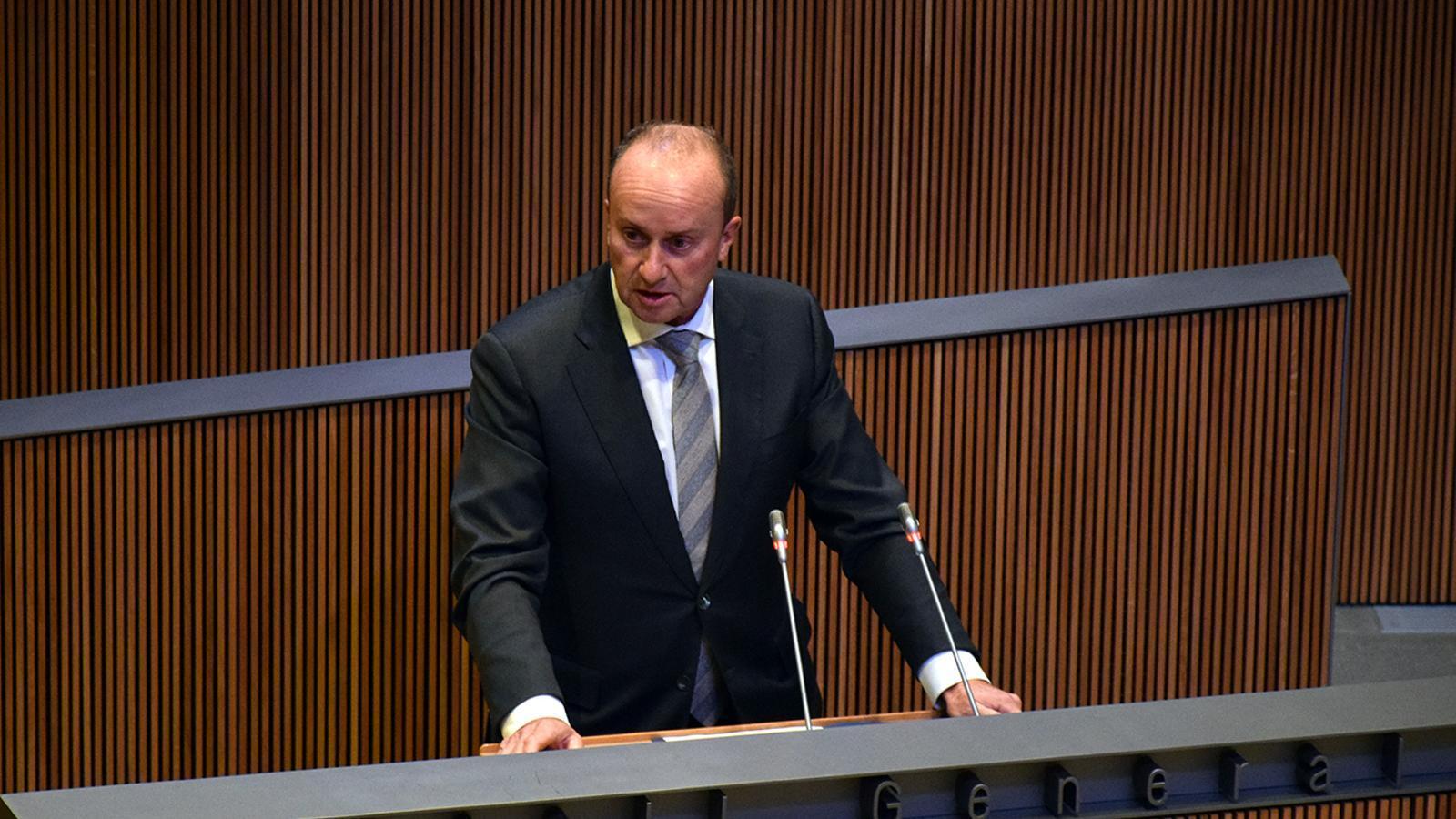 El ministre de Justícia i Interior, Josep Maria Rossell, al Consell General. / MF