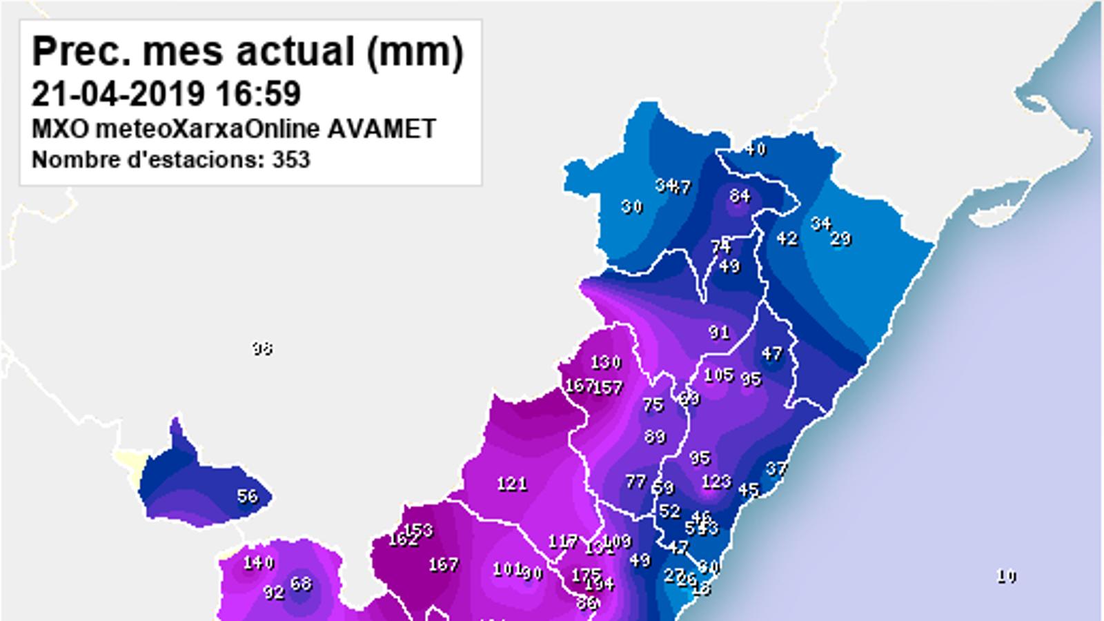 Des de dijous s'han acumulat més de 200 l/m2 en punts del País Valencià