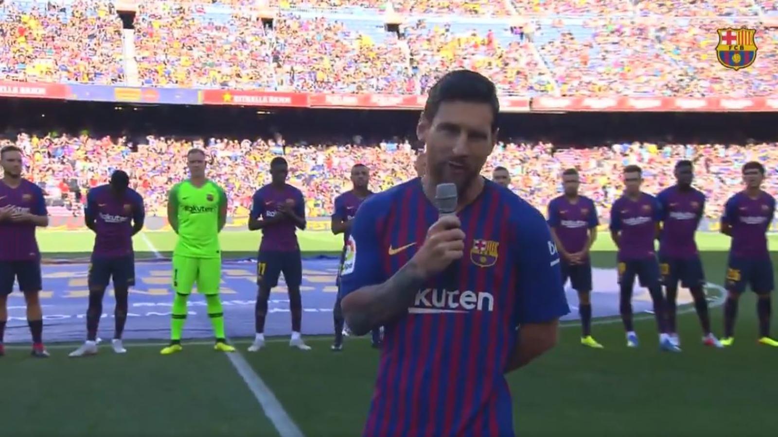 Messi, durant el parlament fet abans del Gamper