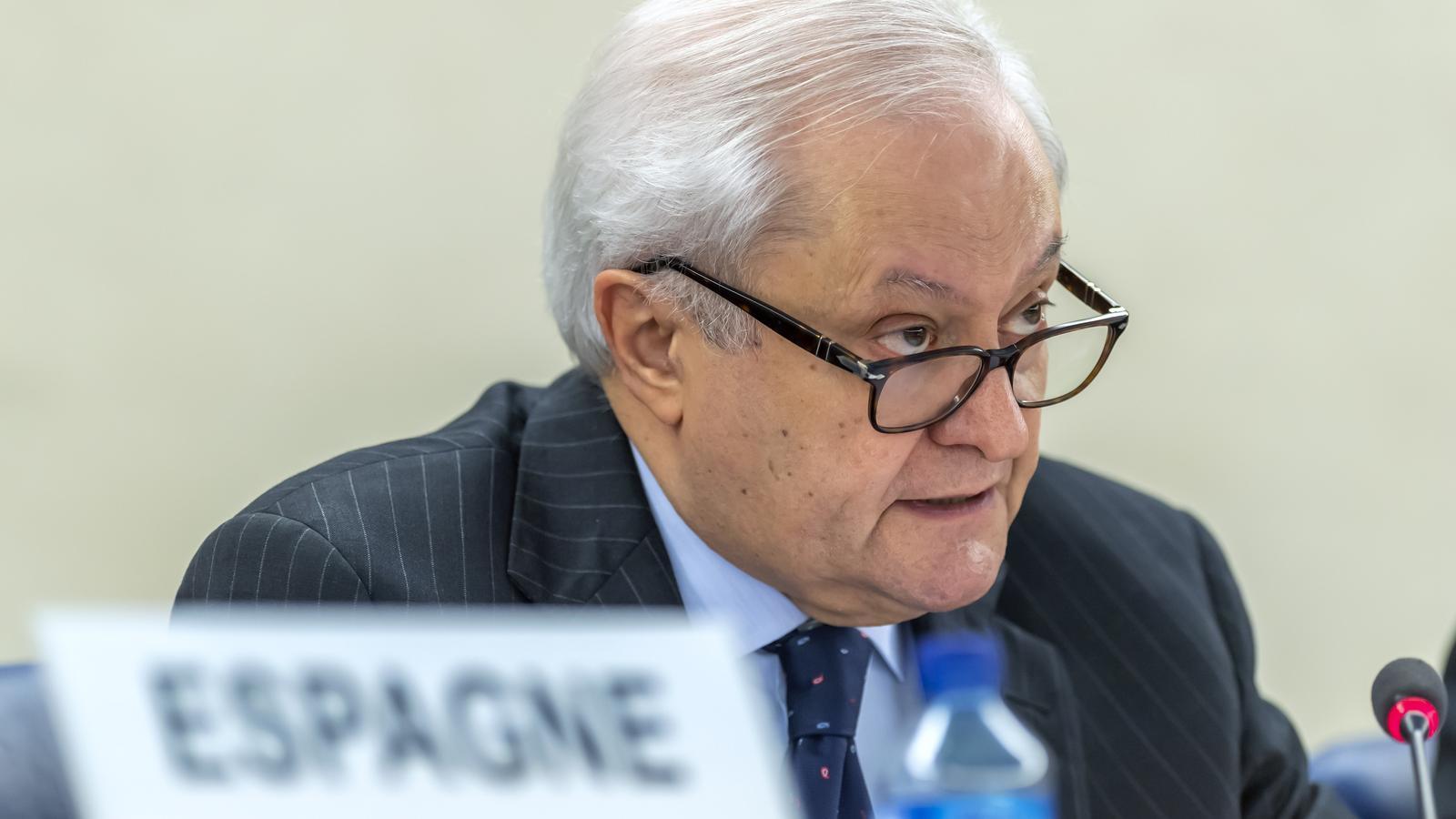 El secretari d'Estat d'Afers Exteriors, Fernando Valenzuela, durant la seva intervenció.