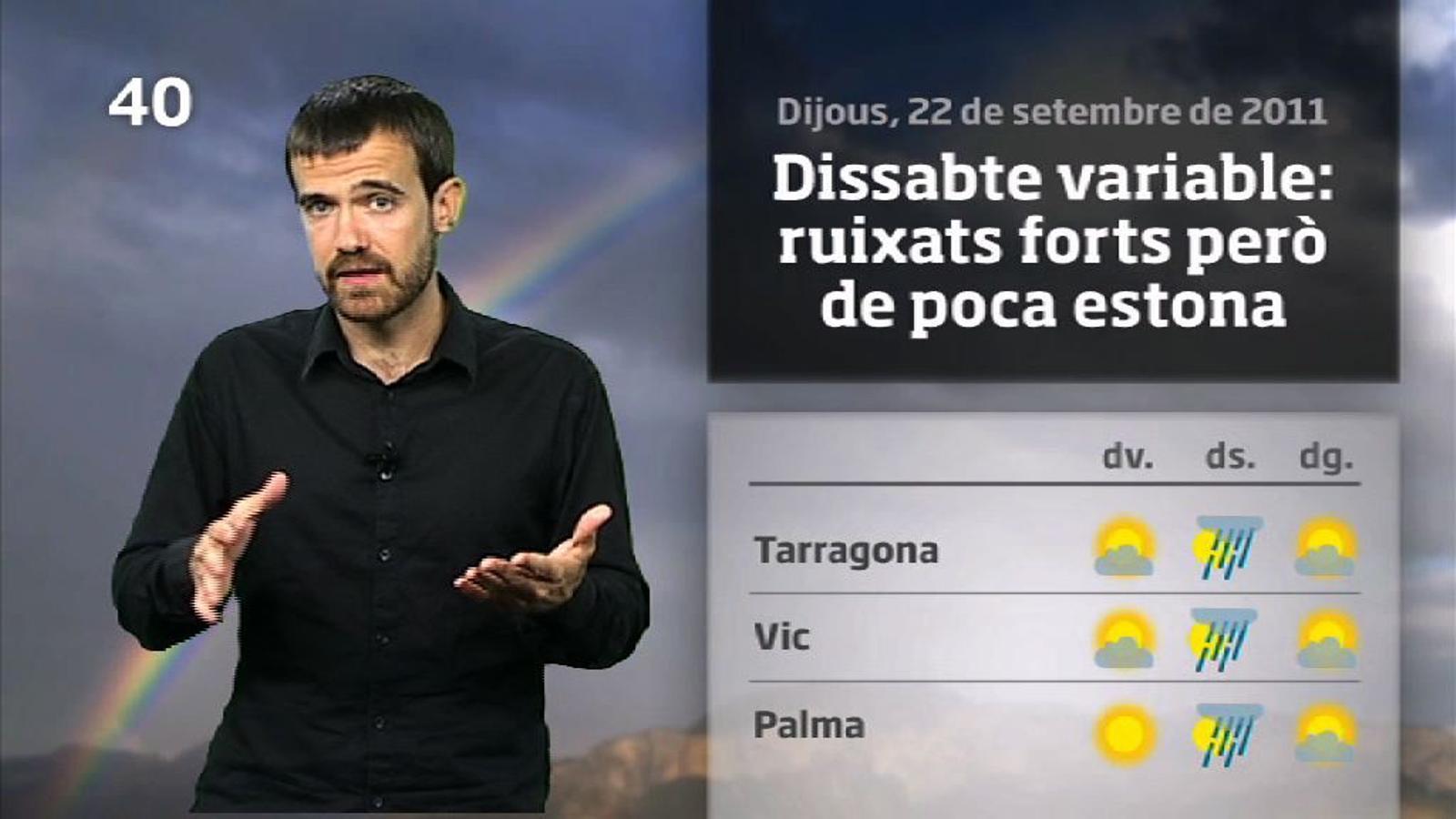 La méteo en 1 minut: tongada de xàfecs curts dissabte (23/09/2011)