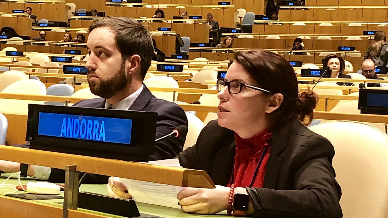 La cap de l'àrea de Polítiques d'Igualtat del ministeri d'Afers Socials, Justícia i Interior, Mireia Porras, durant la seva intervenció. / SFG