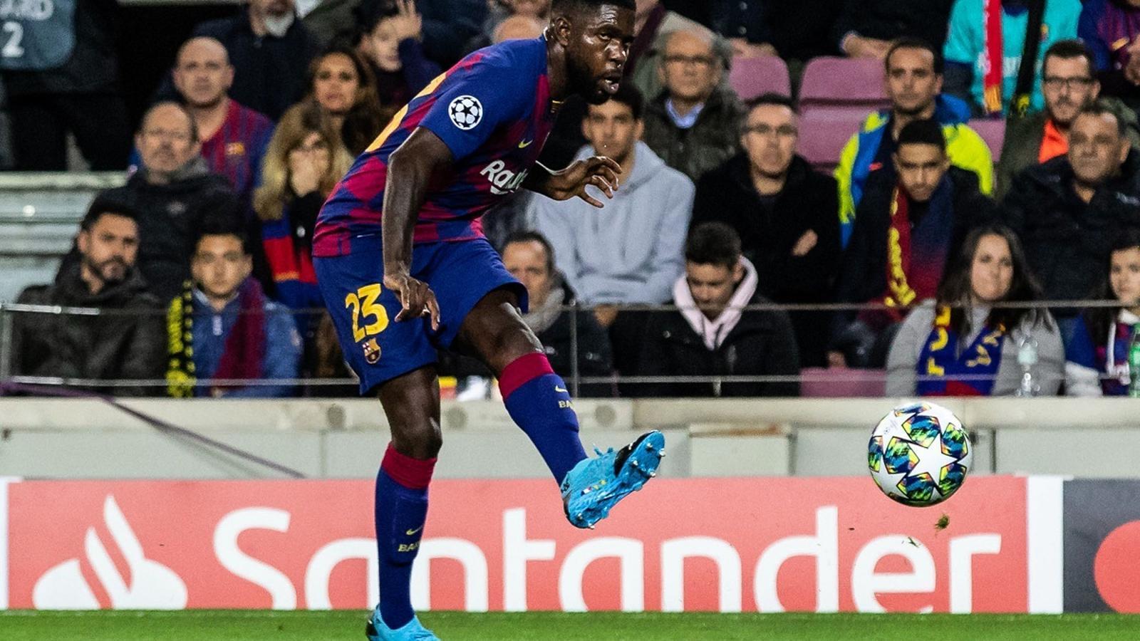 Samuel Umtiti, en acció durant el partit entre el Barça i el Borussia Dortmund