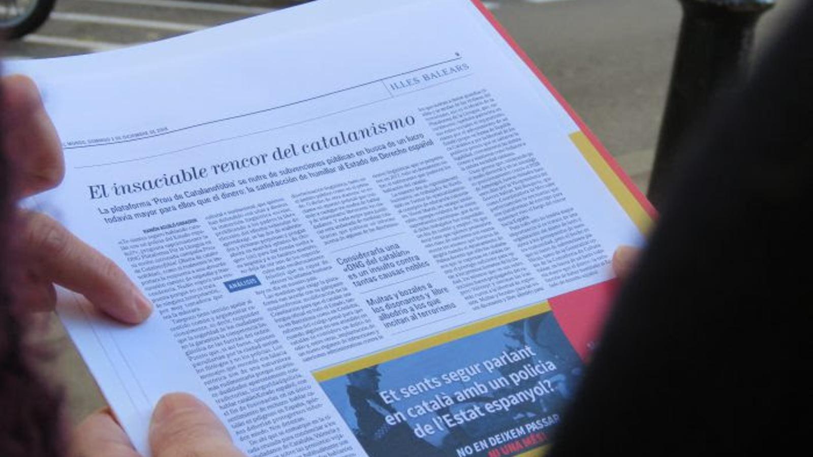 Imatge de l'article del passat 2 de desembre a El Mundo.