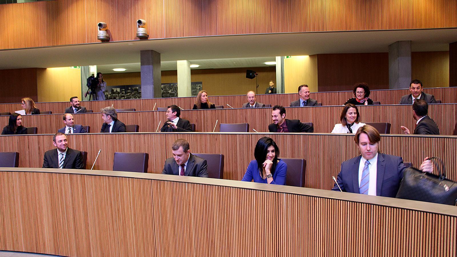 La bancada de l'oposició al Consell General. / M. M.