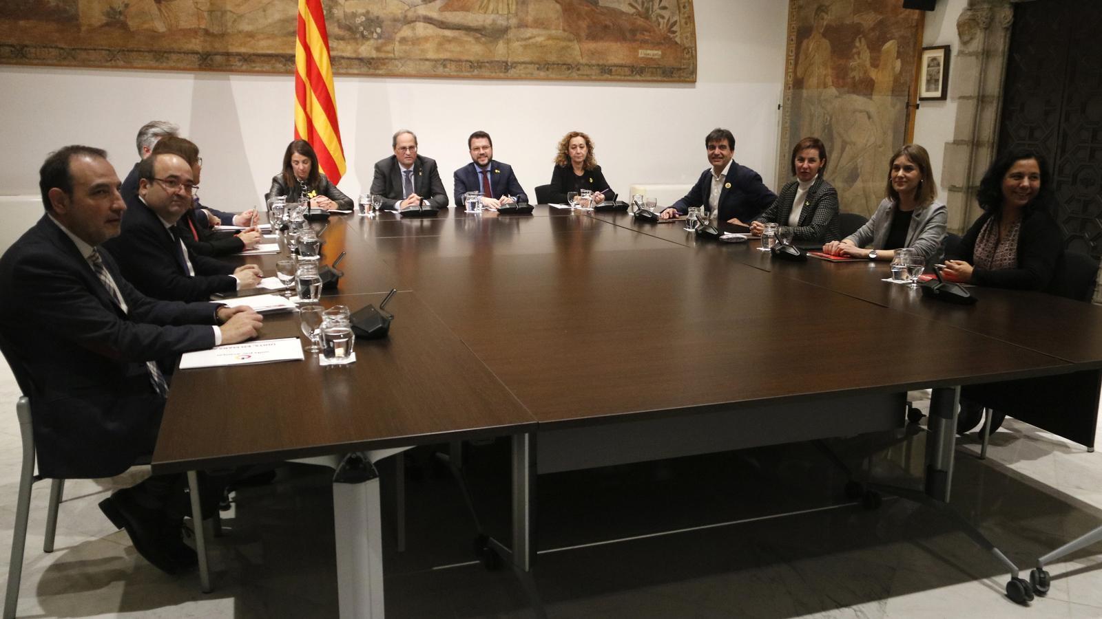 La taula de diàleg de partits catalans, aquest divendres al Palau de la Generalitat