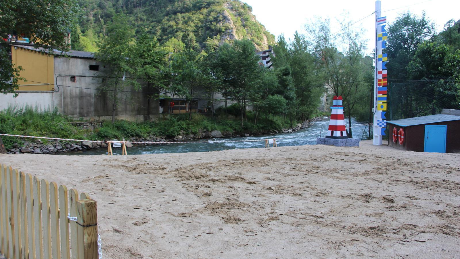 Platja fluvial a Sant Julià de Lòria. / ANA