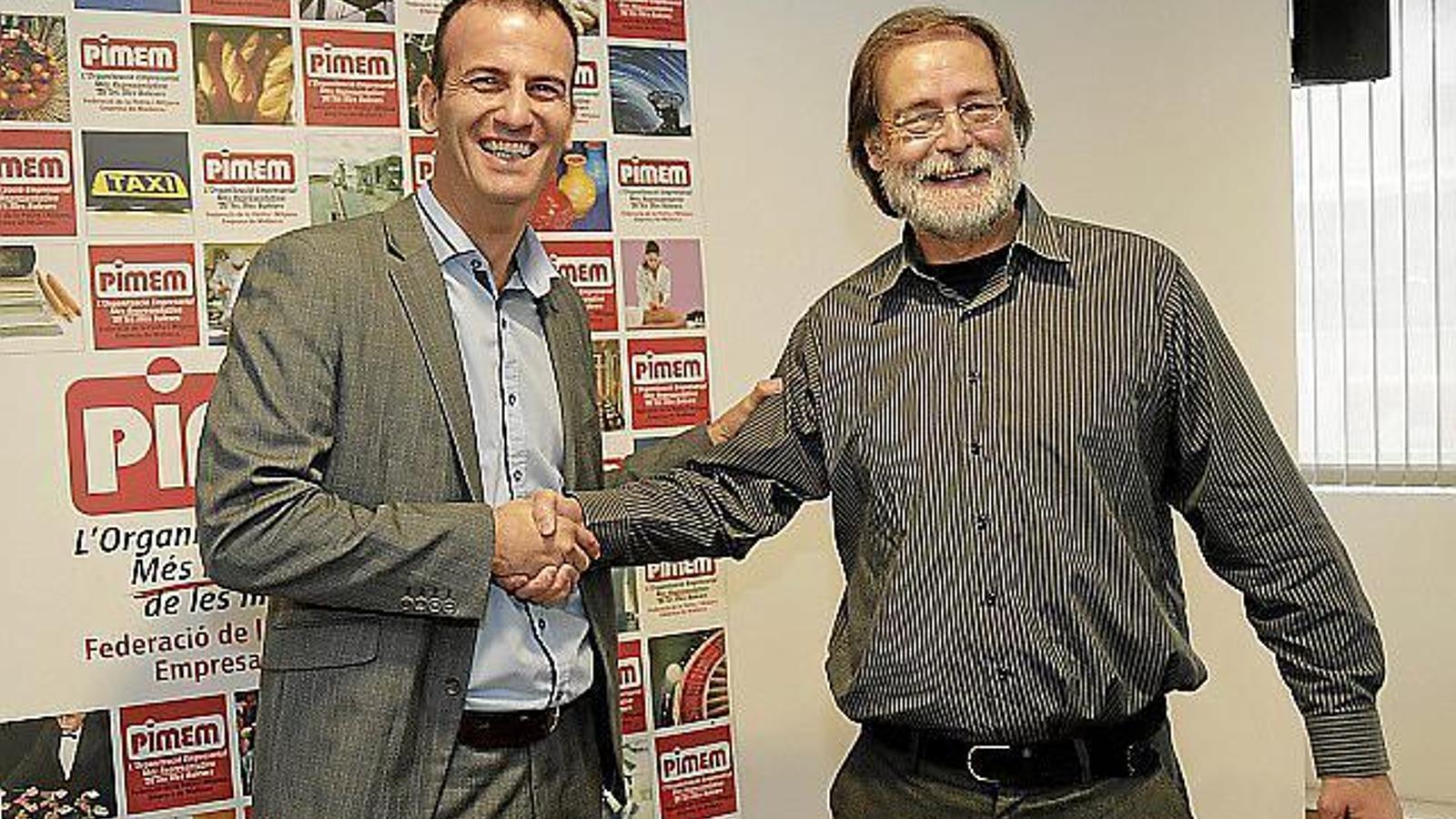 L'actual president de Pimem, Jordi Mora, amb Antoni Mas Romaguera