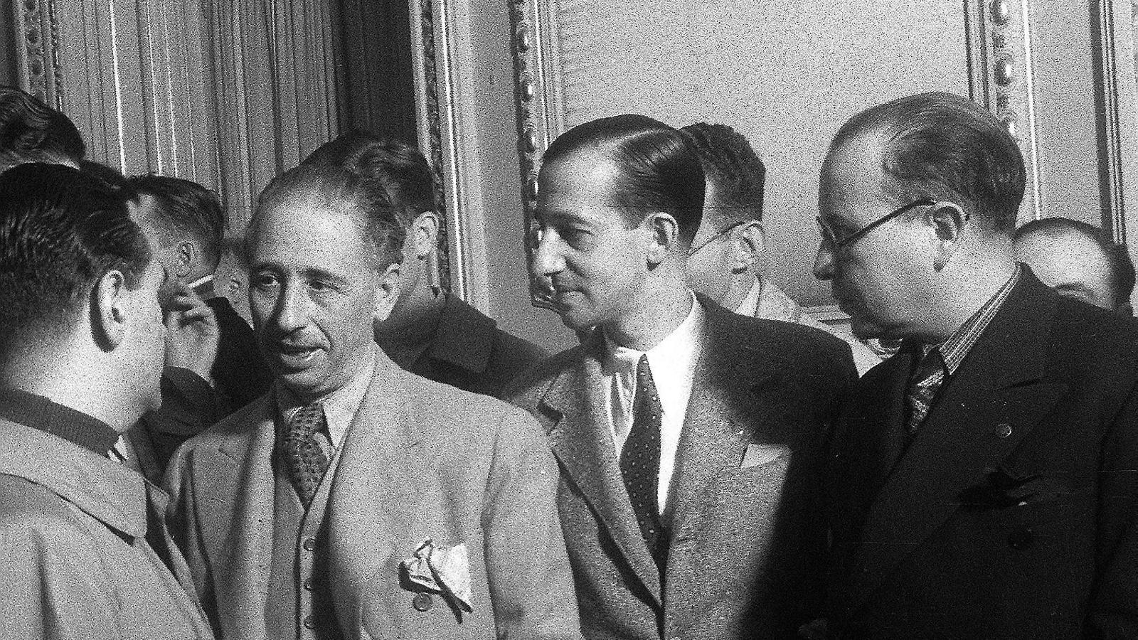 El president de la Generalitat Lluís Companys durant una visita a Madrid l'any 1937.