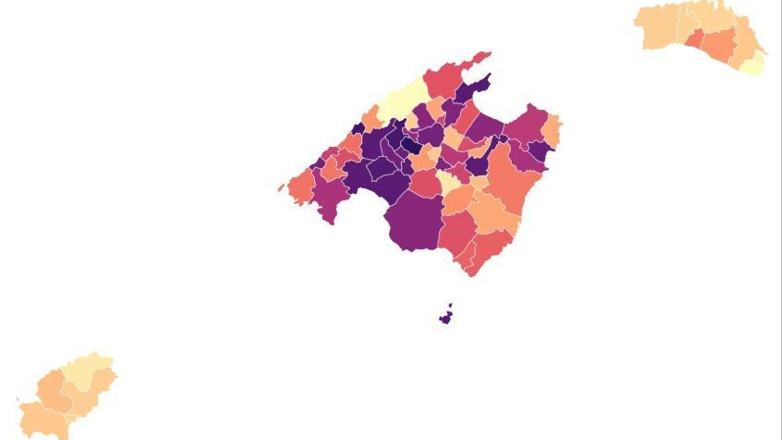 Mapa de les Balears per incidència acumulada de coronavirus a 7 dies.