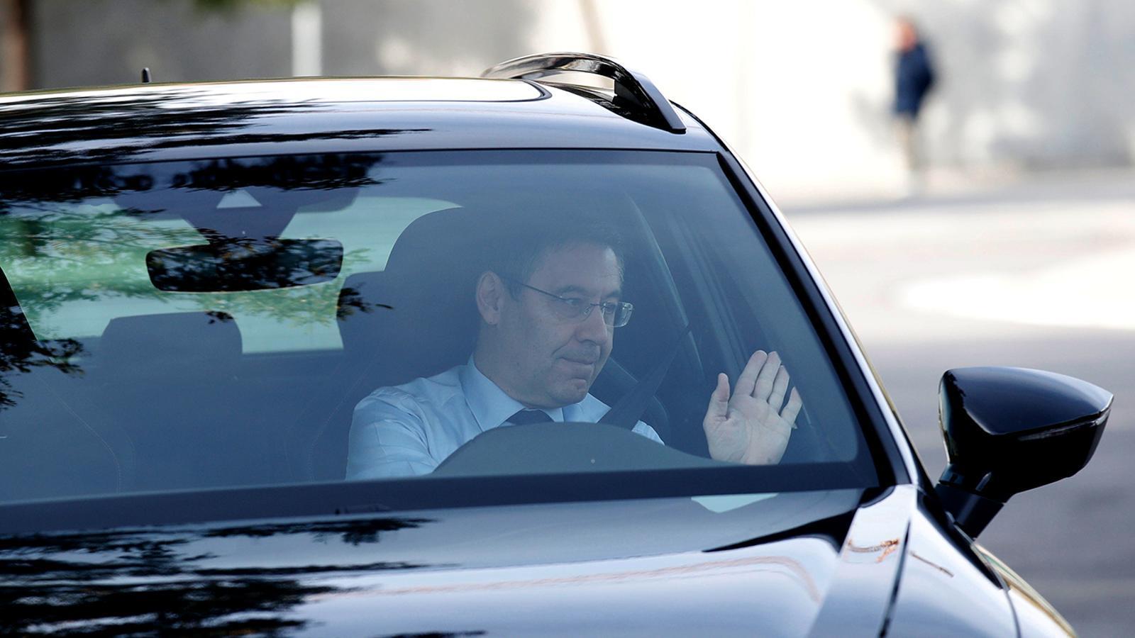 El President del FC Barcelona ,Josep Maria Bartomeu, arriba al camp Joan Gamper