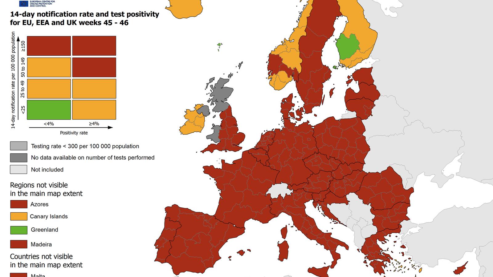 Última actualització del mapa europeu de contagis.